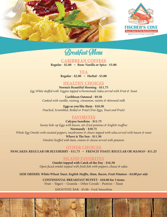 Fischers Cove Reef Restaurant Breakfast Menu