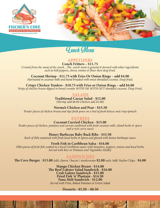 Fischers Cove Reef Restaurant Lunch Menu