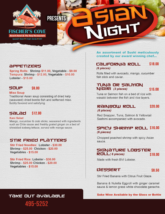 Fischers Cove Beach Hotel & The Reef Restaurant Asian Menu