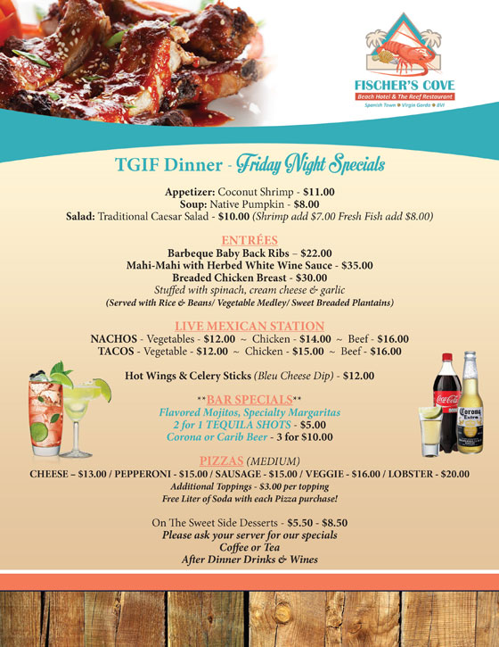 Fischers Cove Beach Hotel and The Reef Restaurant Friday Night Menu Specials