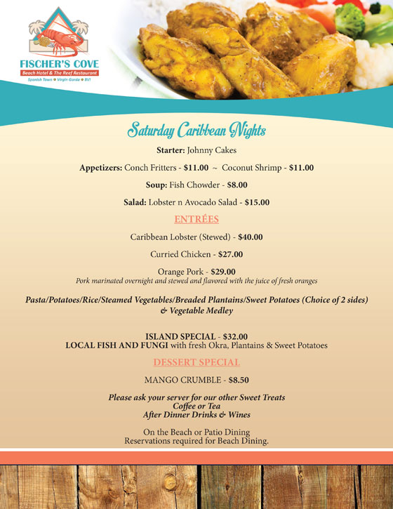 Fischers Cove Saturday Caribbean Nights Menu