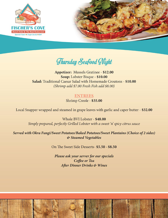 Fischers Cove Beach Hotel Thursday Seafood Night Menu