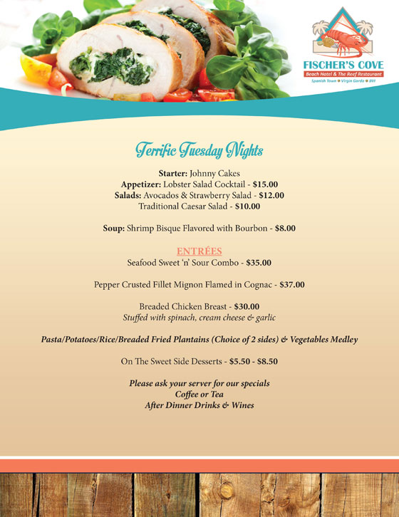 Fischers Cove Reef Restaurant Tuesday Dinner Night Menu