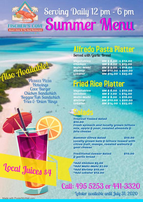 Fischer's Cove Reef Restaurant Summer Menu